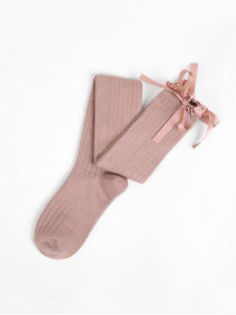 new Ruffle Bowknot Over Knee Length Socks - KHAKI  Mobile