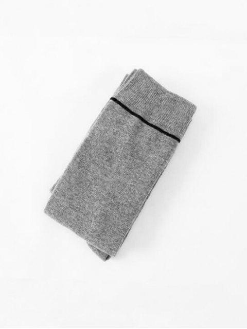 women's Brief Stripe Over Knee Length Socks - LIGHT GRAY  Mobile