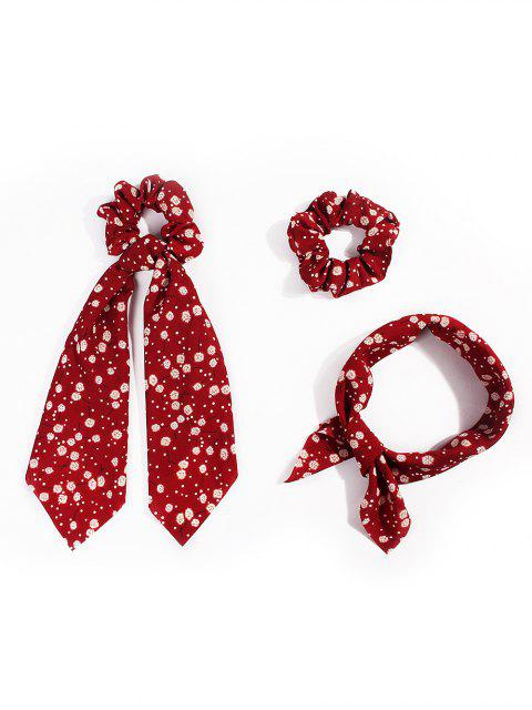 latest Dandelion Pattern Ribbon Intestine Ring Hair Band - RED  Mobile