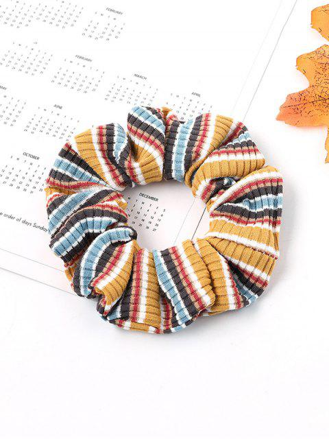 buy Striped Intestine Ring Elastic Hair Band - YELLOW  Mobile