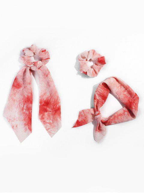 hot Tie Dye Ribbon Intestine Ring Hair Band - RED  Mobile