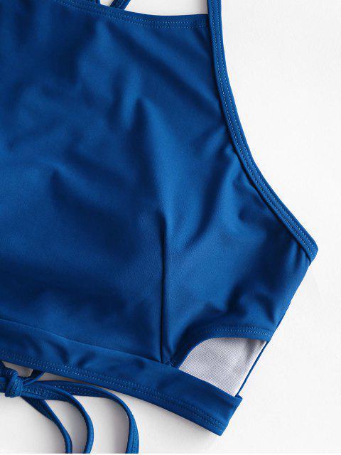 ZAFUL recorte con cordones acanalado floral traje de baño de Tankini - Lapislázuli M Mobile