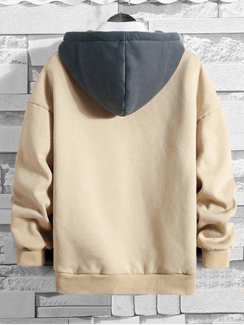 Carta bordado Colorblock empalmado Fleece con capucha - Amarillo de Mazorca de Maíz M Mobile