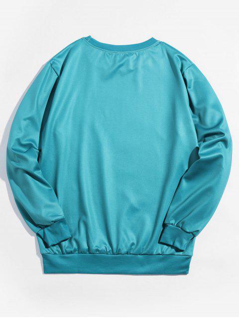 Navidad cráneo impresa letra de la camiseta - Azul Verde Guacamayo  M Mobile