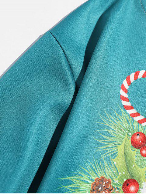 Navidad cráneo impresa letra de la camiseta - Azul Verde Guacamayo  L Mobile
