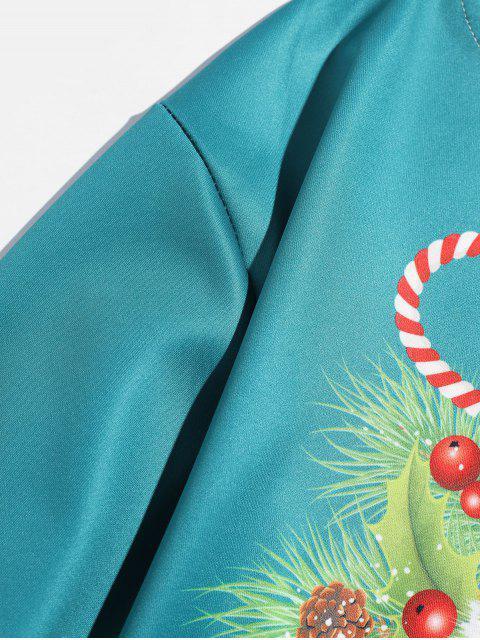 Navidad cráneo impresa letra de la camiseta - Azul Verde Guacamayo  2XL Mobile