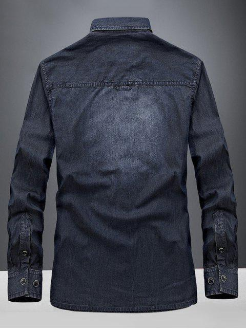 Camisa de Manga Larga de Mezclilla - Azul Oscuro de Denim L Mobile
