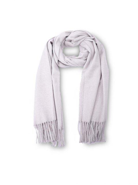 affordable Fringed Faux Cashmere Long Scarf - WHITE REGULAR Mobile