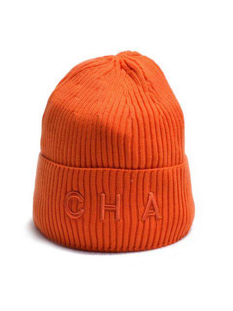 new Letter Turn Up Edge Knitted Hat - ORANGE  Mobile