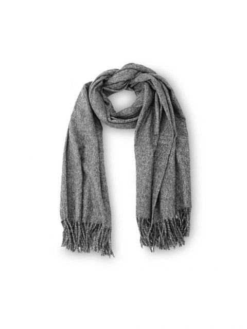 outfit Fringed Faux Cashmere Long Scarf - DARK GRAY REGULAR Mobile