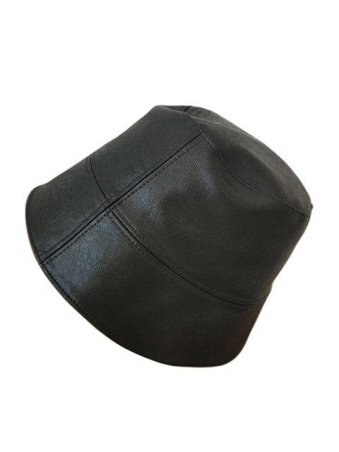latest Faux Leather Brief Bucket Hat - BLACK  Mobile