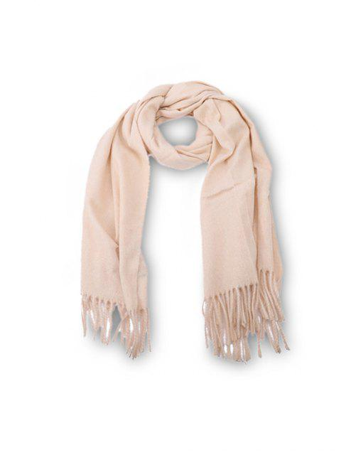 affordable Fringed Faux Cashmere Long Scarf - WARM WHITE REGULAR Mobile