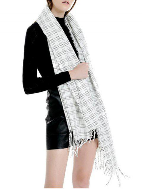 women Plaid Pattern Fringe Long Scarf - MILK WHITE REGULAR Mobile