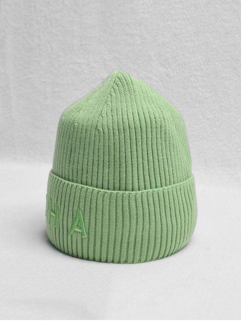 shops Letter Turn Up Edge Knitted Hat - LIGHT GREEN  Mobile