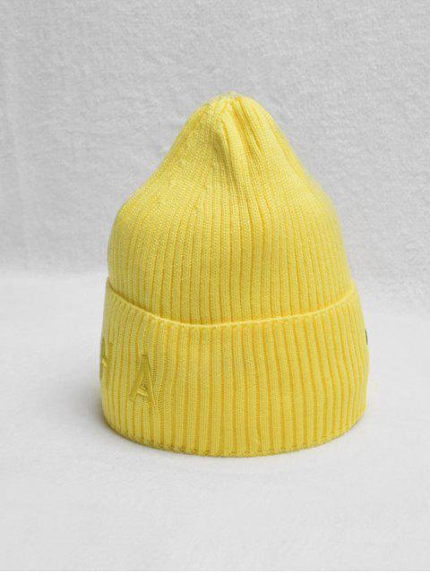fashion Letter Turn Up Edge Knitted Hat - YELLOW  Mobile