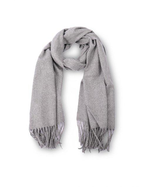 fancy Fringed Faux Cashmere Long Scarf - LIGHT GRAY REGULAR Mobile
