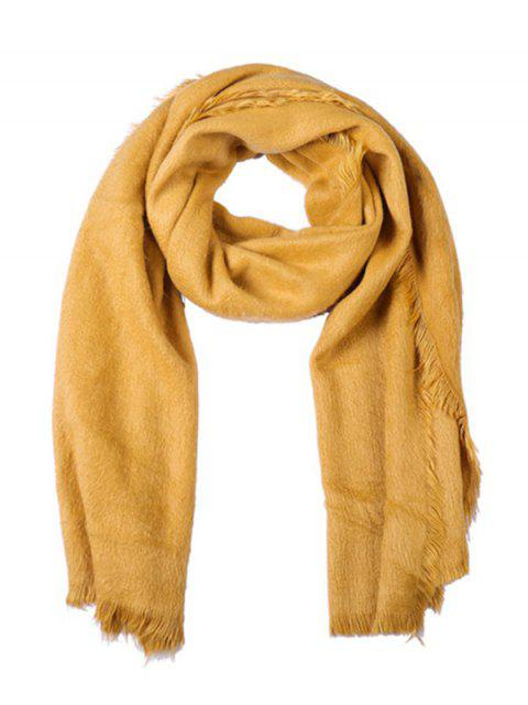 women's Faux Fur Long Fringe Solid Scarf - BEE YELLOW REGULAR Mobile