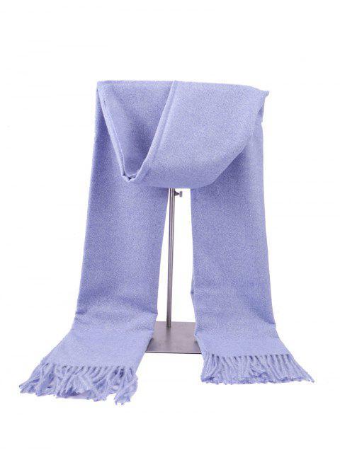 hot Fringed Faux Cashmere Long Scarf - CORNFLOWER BLUE REGULAR Mobile