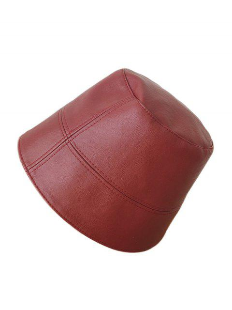 outfit Faux Leather Brief Bucket Hat - RED WINE  Mobile