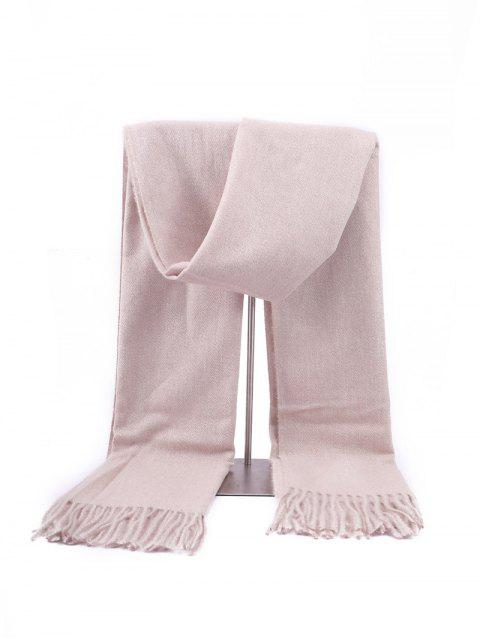 shop Fringed Faux Cashmere Long Scarf - BEIGE REGULAR Mobile