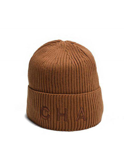 fashion Letter Turn Up Edge Knitted Hat - BROWN  Mobile