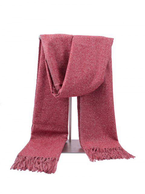 unique Fringed Faux Cashmere Long Scarf - RED WINE REGULAR Mobile