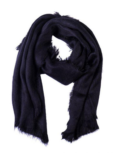 affordable Faux Fur Long Fringe Solid Scarf - BLACK REGULAR Mobile