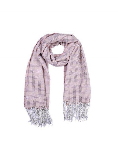 ladies Plaid Pattern Fringe Long Scarf - LIGHT PINK REGULAR Mobile