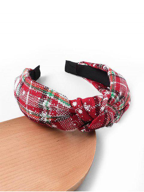 best Gingham Snowflake Christmas Hairband - WHITE  Mobile