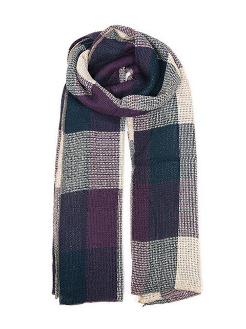 outfits Plaid Color-blocking Long Scarf - CADETBLUE REGULAR Mobile