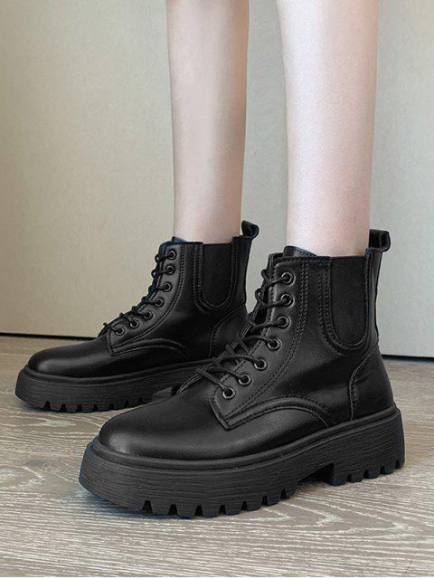 women's Low Platform PU Leather Cargo Boots - BLACK EU 37 Mobile