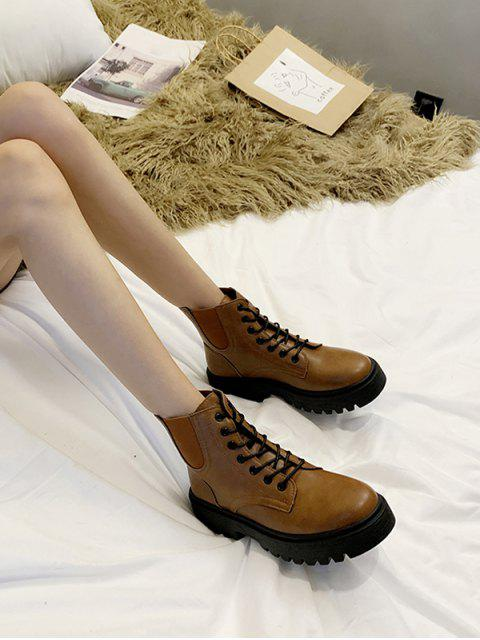 latest Low Platform PU Leather Cargo Boots - BROWN EU 37 Mobile