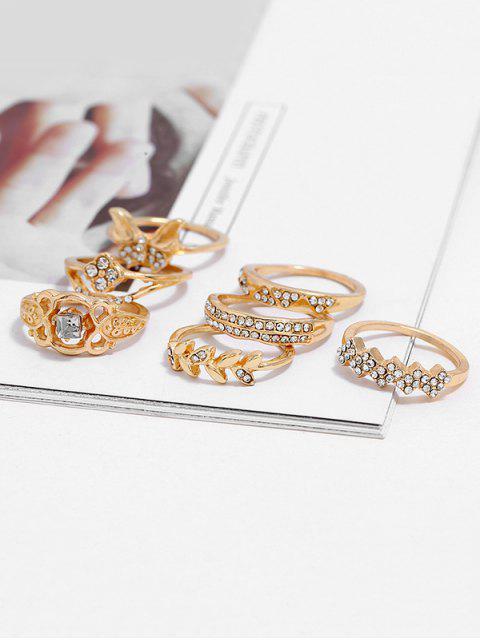 7Pcs Strass Runde Finger-Ringe - Gold  Mobile