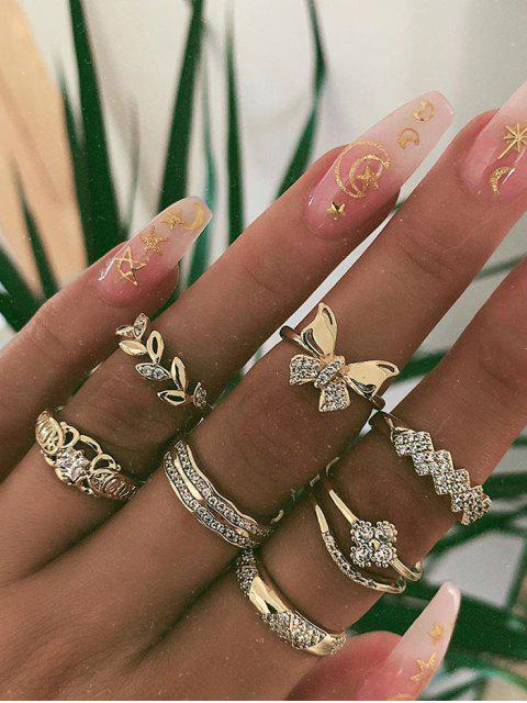 chic 7Pcs Rhinestone Round Finger Rings - GOLD  Mobile