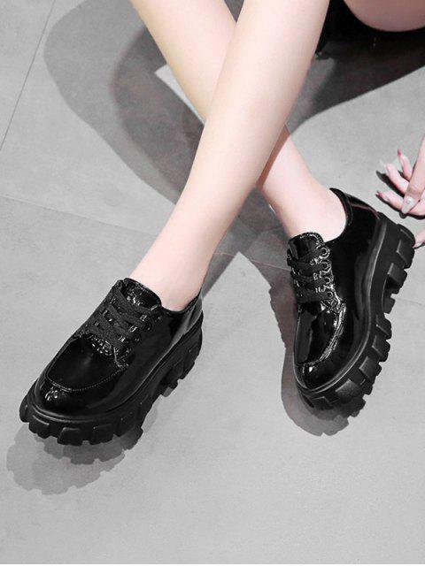 sale Patent Leather Low Top Platform Boots - BLACK EU 35 Mobile