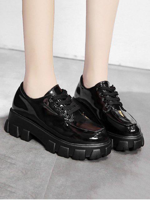 buy Patent Leather Low Top Platform Boots - BLACK EU 38 Mobile