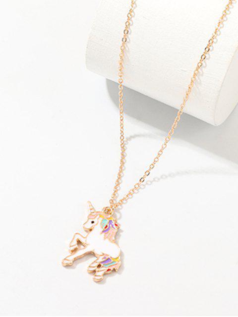 Collar de cadena colgante en forma de unicornio - Oro  Mobile