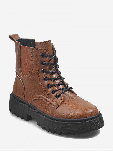 hot Low Platform PU Leather Cargo Boots - BROWN EU 39 Mobile