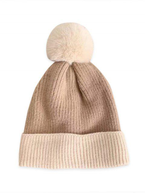 shops Fleece Turn Up Edge Knitted Bobble Hat - COFFEE  Mobile