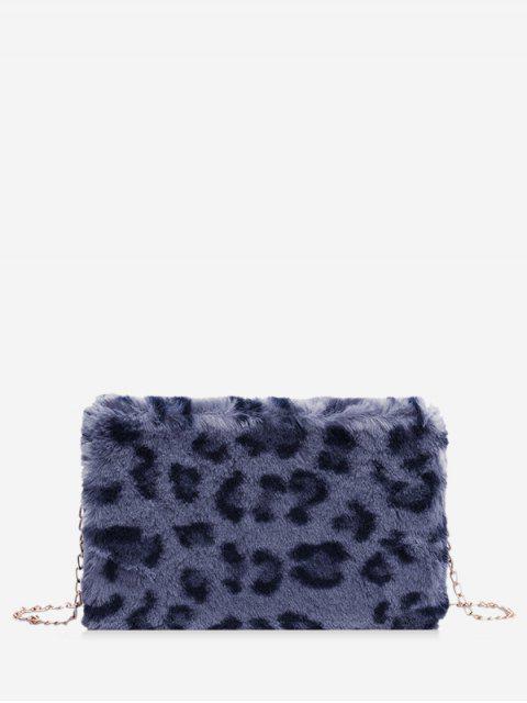 La piel de imitación del estampado leopardo bolso de la caja - Azul Pizarra  Mobile