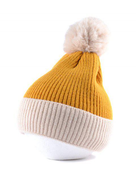 Шерсть Оборотный край Вязаная Шляпа - Жёлтый  Mobile