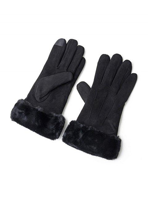 shop Solid Color Fluffy Full Finger Gloves - BLACK  Mobile