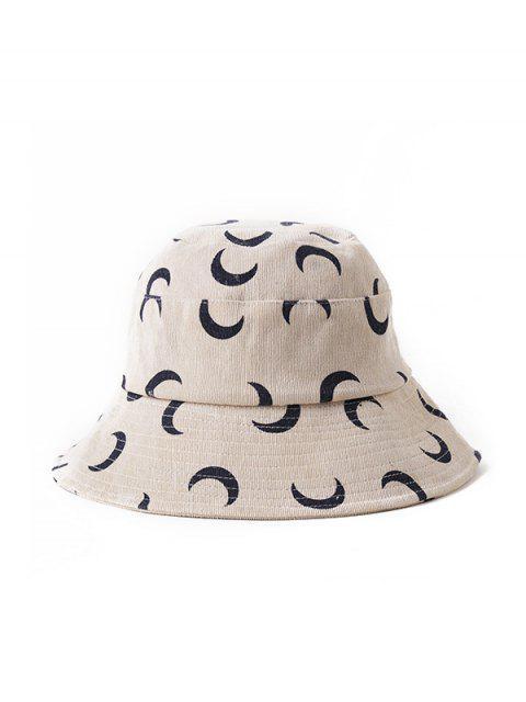 shops Corduroy Moon Print Bucket Hat - BEIGE  Mobile