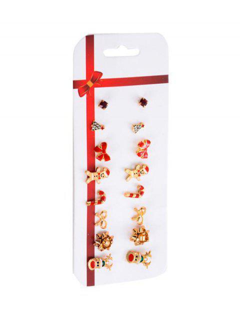Рождественский  принт Серьги Набор - Золотой  Mobile