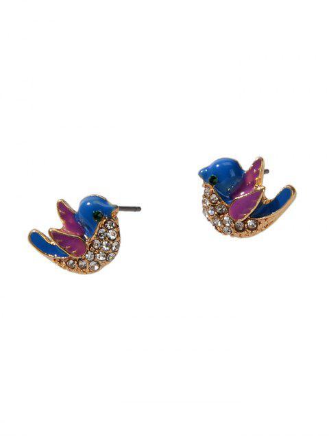 Pendientes de diamantes de aves artificial - Azul Cobalto  Mobile