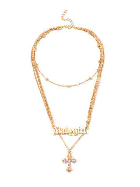 Collar de diamantes de imitación de capa Cruz Carta de bolas - Oro  Mobile