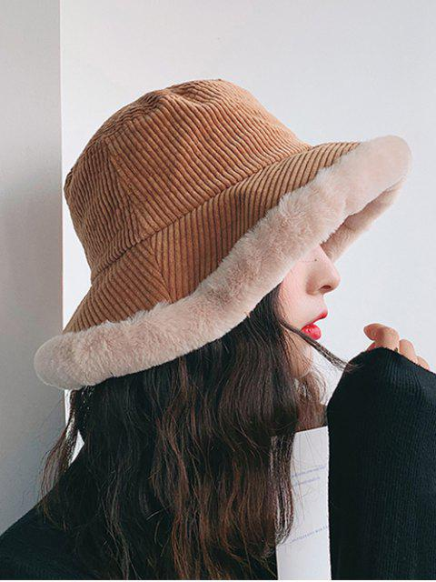 outfit Plush Edge Corduroy Bucket Hat - CAMEL BROWN  Mobile