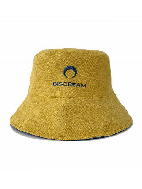 Bordado luna de doble cara del sombrero del cubo - Amarillo  Mobile