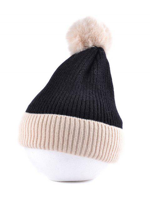 fancy Fleece Turn Up Edge Knitted Bobble Hat - BLACK  Mobile