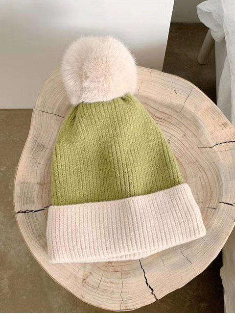affordable Fleece Turn Up Edge Knitted Bobble Hat - GREEN  Mobile